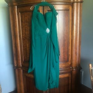 Jovani Emerald Strapless Ruched Cocktail Dress